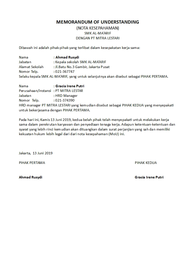 Contoh Surat Perjanjian Mou Yang Sah Dan Singkat Detiklife