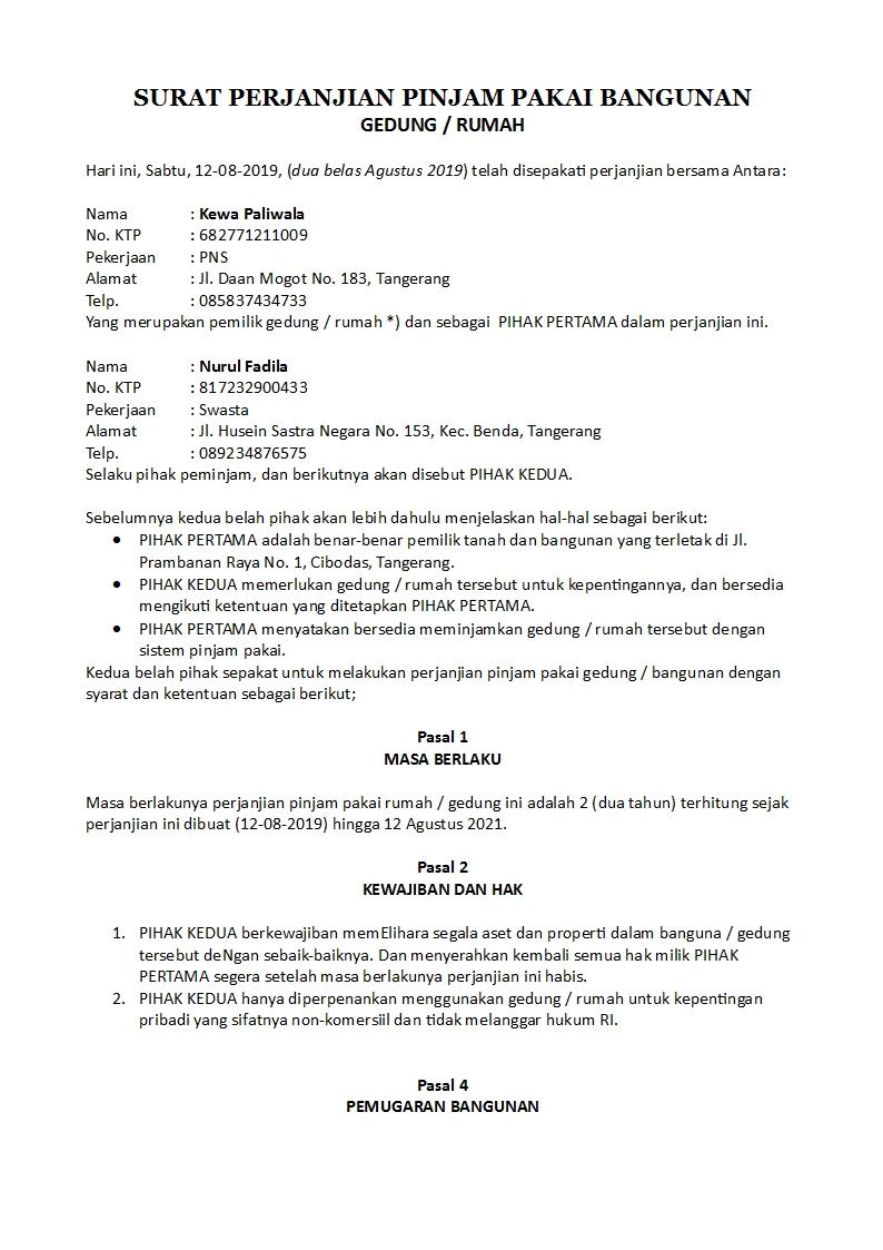 Contoh Surat Perjanjian Pinjam Pakai Gedung Sekolah