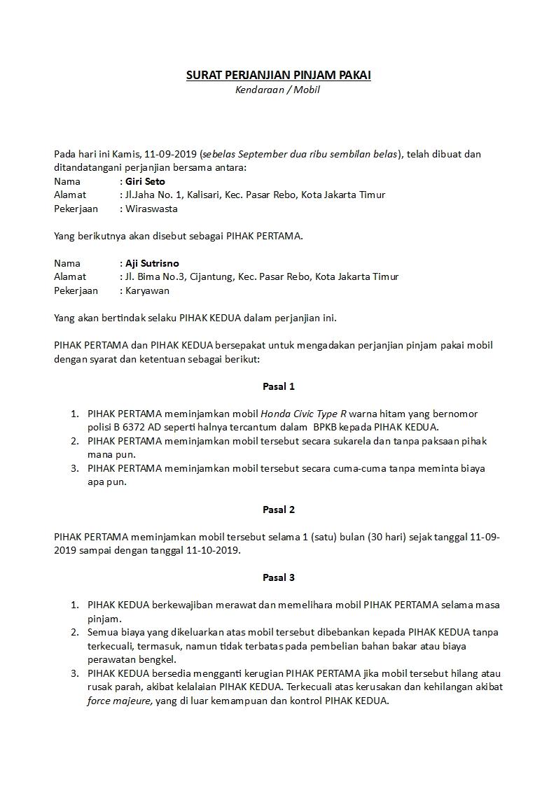 Contoh Surat Perjanjian Pinjam Pakai Yang Sah Dan Benar