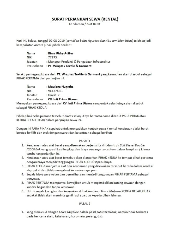 surat perjanjian rental kendaraan berat atau alat berat