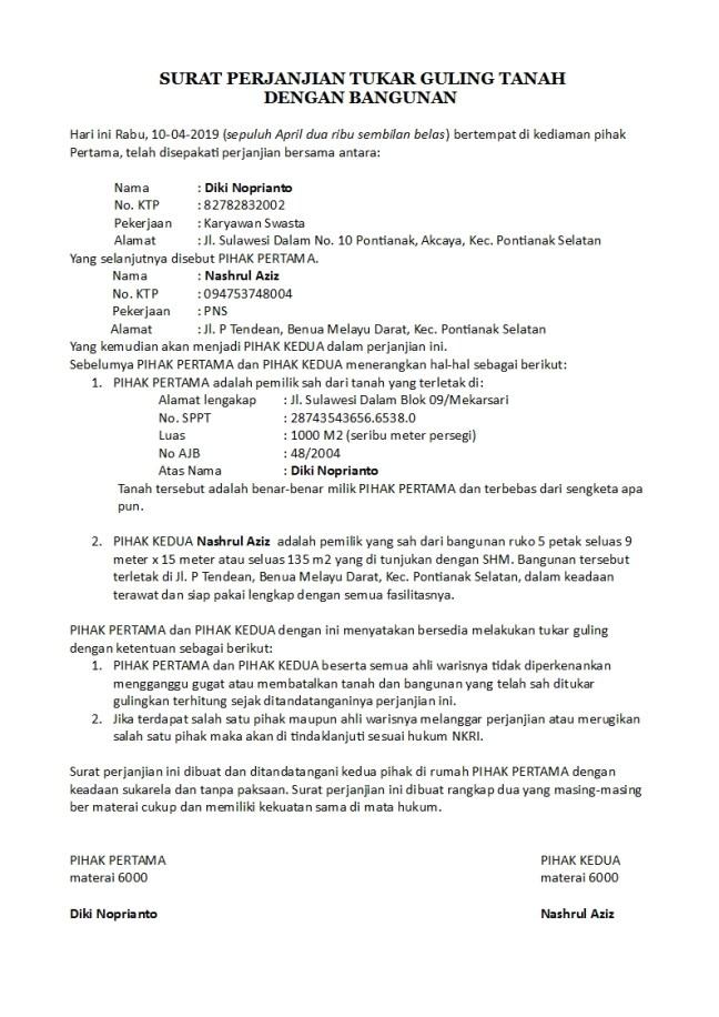 surat perjanjian tukar guling tanah