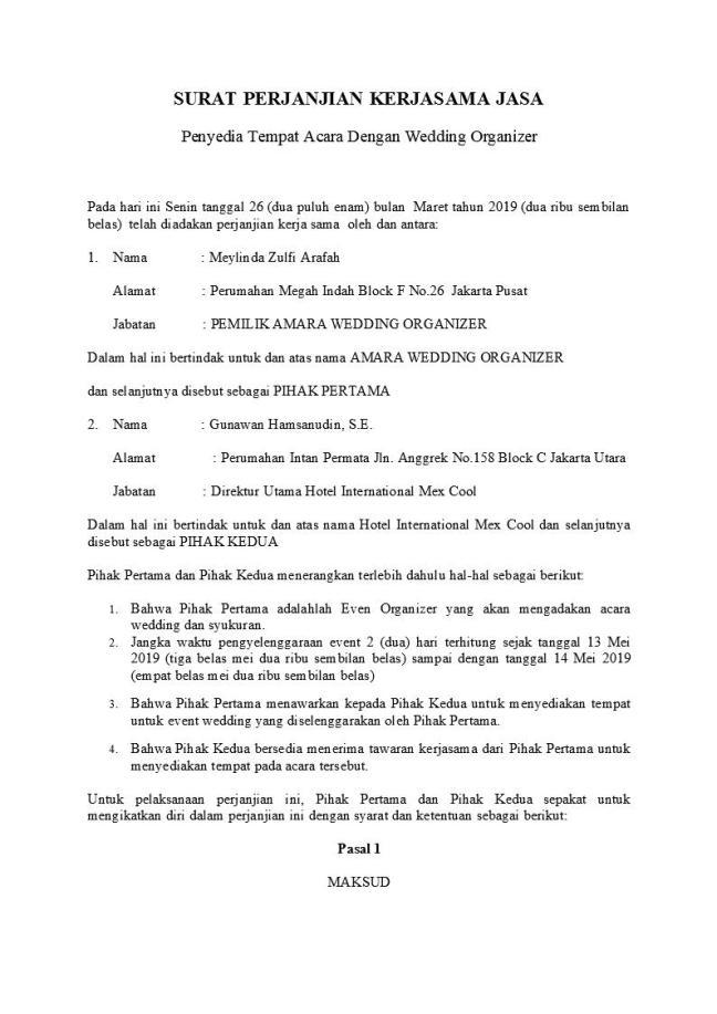 Surat perjanjian kerjasama jasa