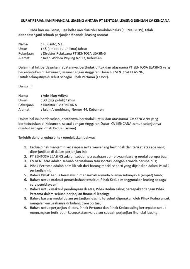 surat perjanjian leasing bus