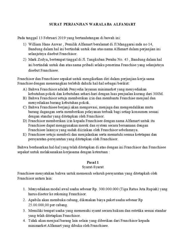 surat perjanjian alfamart