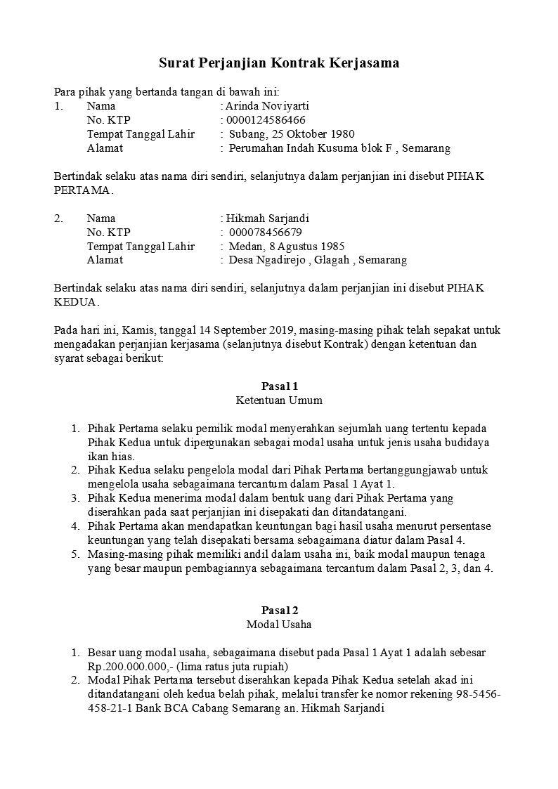 Contoh Surat Perjanjian Kerjasama Sederhana Doc
