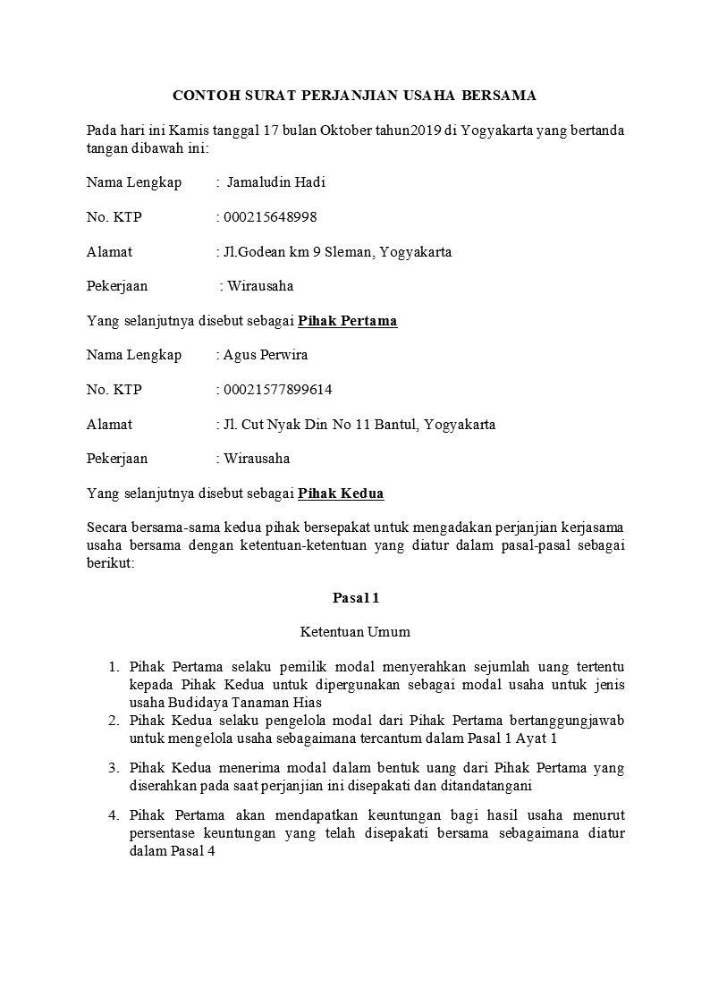 Contoh Surat Perjanjian Usaha Yang Baik Dan Benar Detiklife