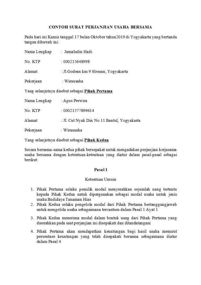 surat perjanjian usaha bersama