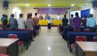 Sebagai wujud cinta tanah air, seluruh peserta pelatihan, pejabat beserta intruktur pelatihan menyanyikan lagu Indonesia Raya sebelum dimulainya acara pembukaan