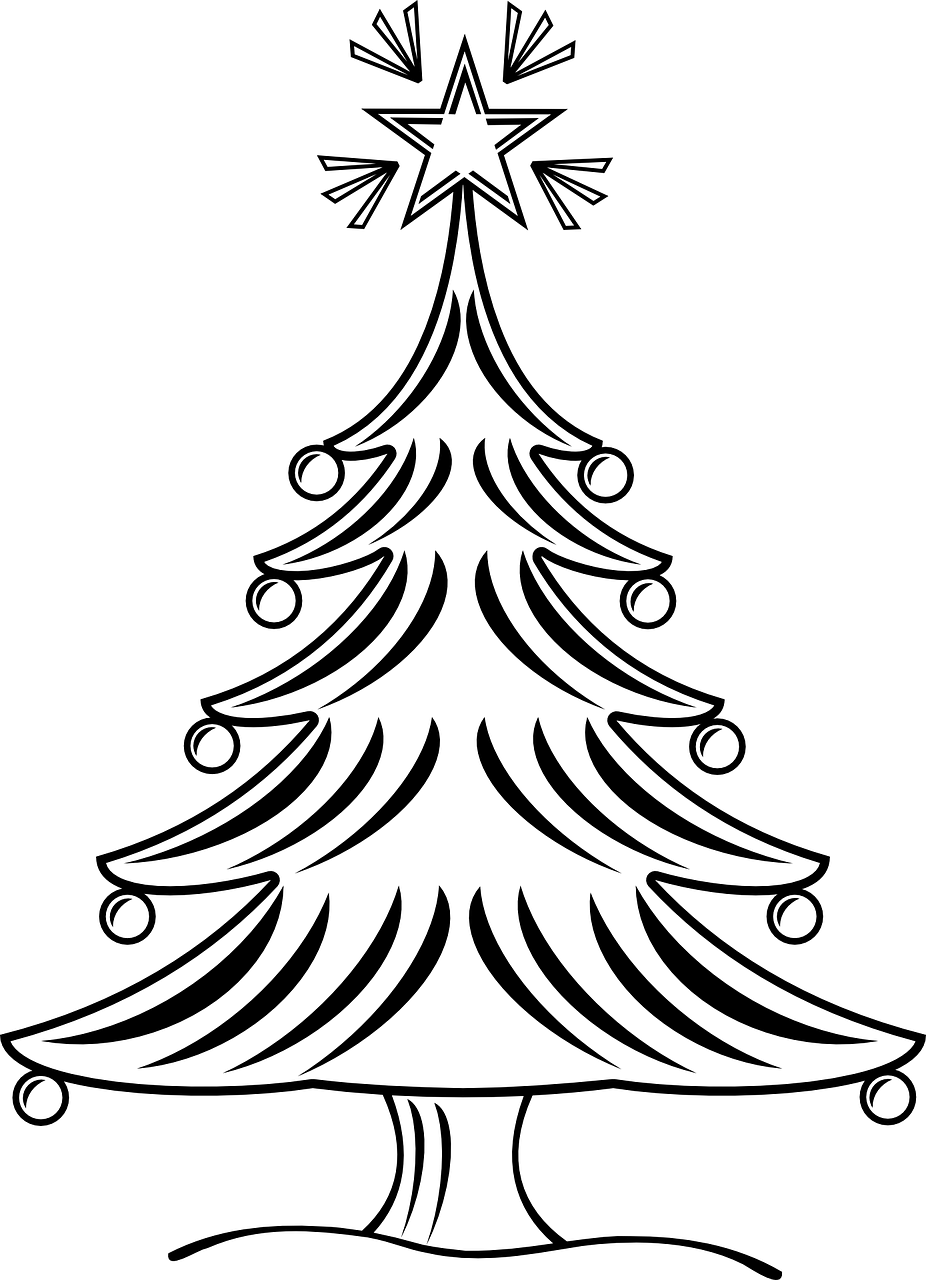 Free printable Christmas tree coloring pages for kids: 9