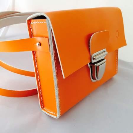 Sonja håndsyet orange kernelædertaske fra Det Lille Læderi 7