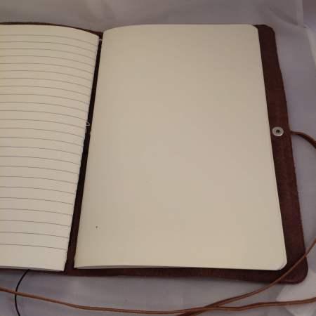 Notebook i kernelæder håndlavet 3 www.DetLilleLæderi.dk