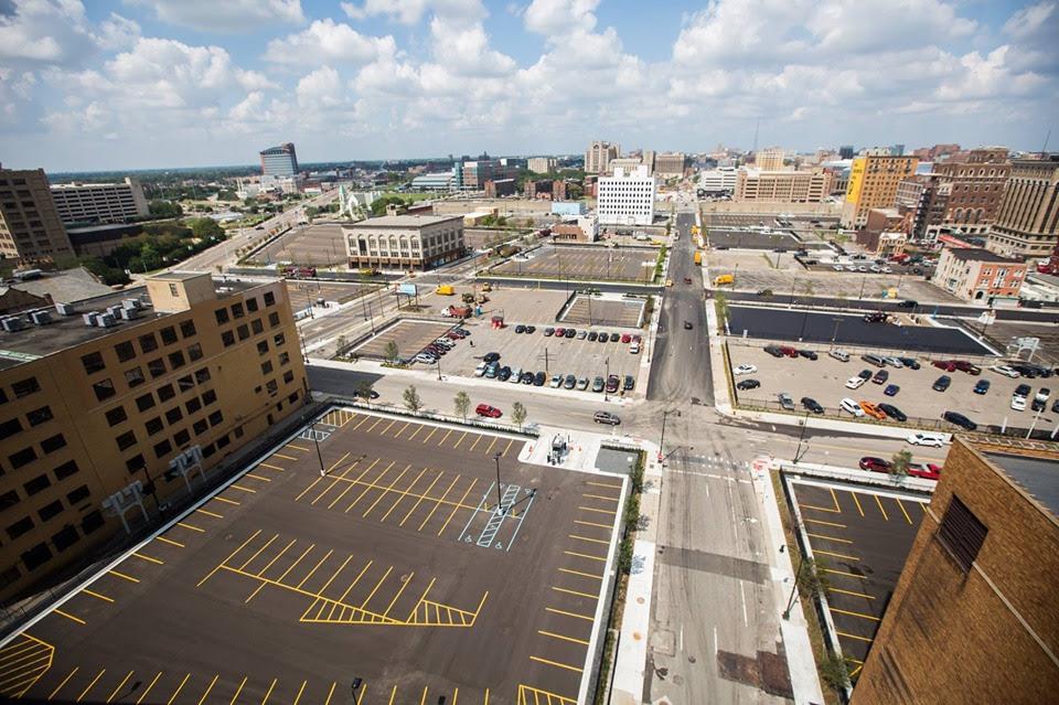 Empty lots in downtown Detroit
