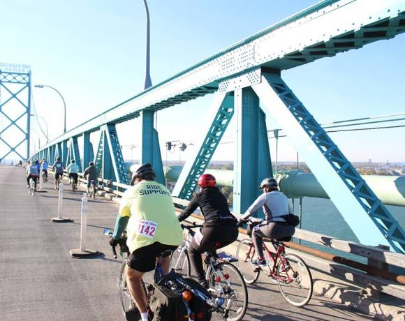 Bikers riding over the Ambassador Bridge between Detroit and Canada for the Tour de Troit annual Biike the Bridge event in 2015.