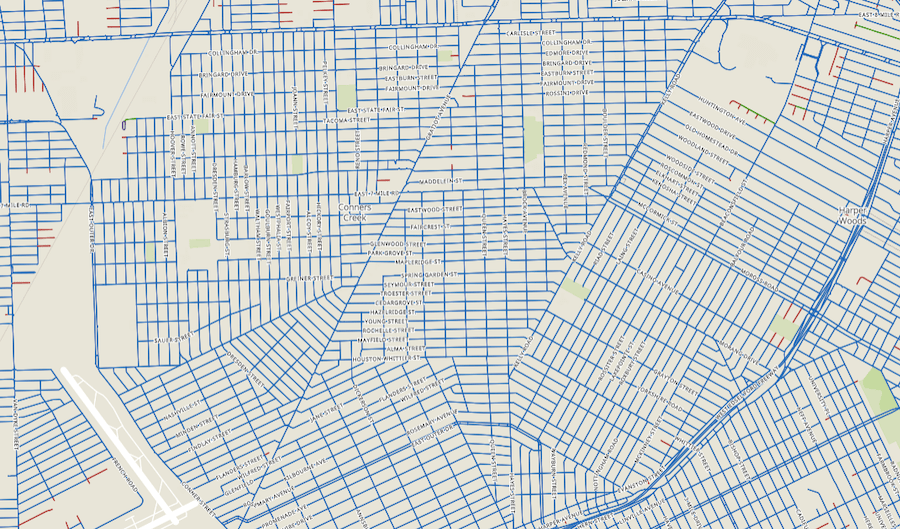 A low-sprawl section of Detroit -- note the connected pattern, even when there are breaks from the right angles of a classic grid.
