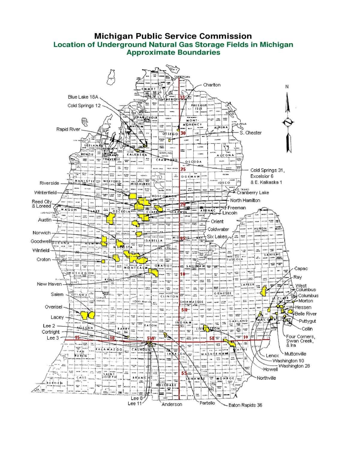 gas storage, state of michigan map