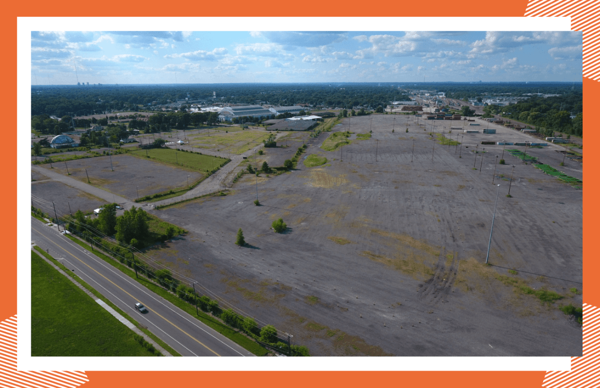 An aerial photo of the State Fairgrounds site at Detroit's northern border. The site is set to be redeveloped.
