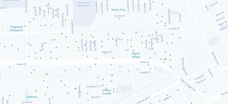 Completed demolitions in a stretch of Northwest Detroit, via the Detroit Open Data Portal