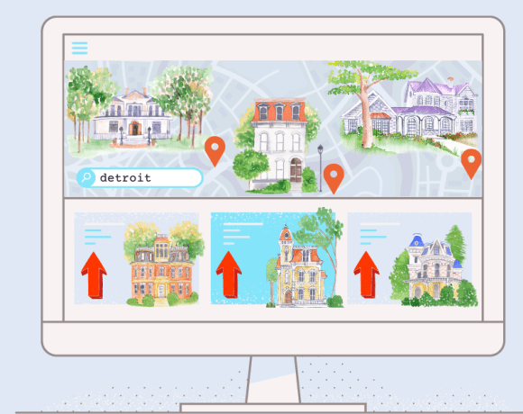 detroit housing market booming in 2020. illustration of real estate search site for detroit with prices increasing