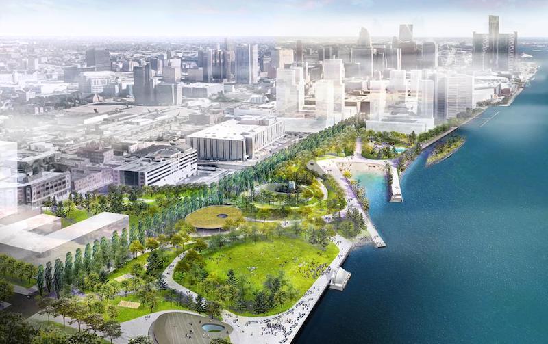 West Riverfront Park rendering courtesy Michael Van Valkenburgh Associates/Detroit Riverfront Conservancy