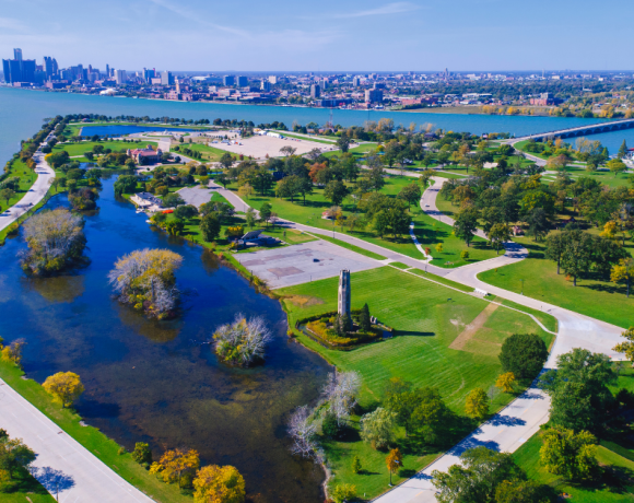 aerial photo of belle isle in detroit, where upgrades are underway