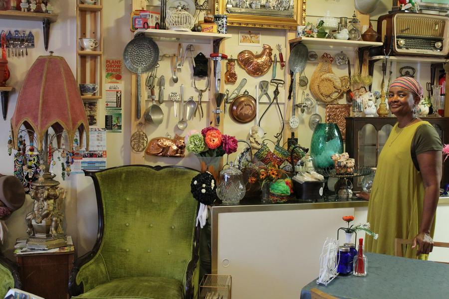darlene alston inside of her tea shop just a bit eclectic