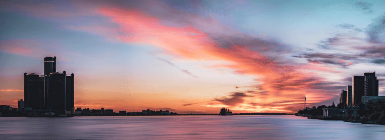 sunrise over detroit river