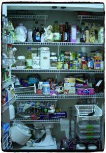 Pantry before the make over - cluttered and a mess!