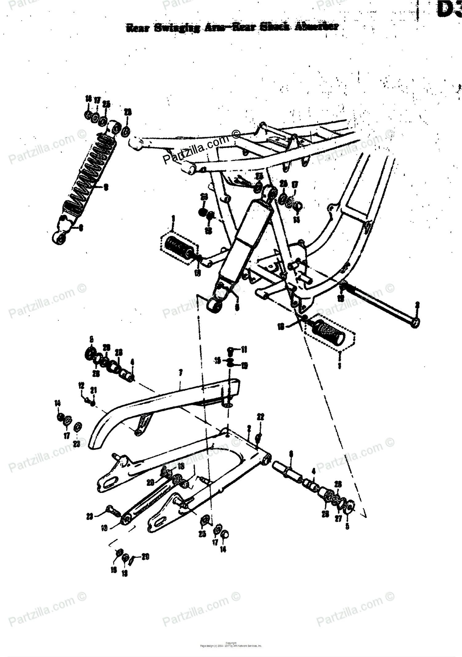 Car Shock Absorber Diagram Suzuki Motorcycle 1968 Oem