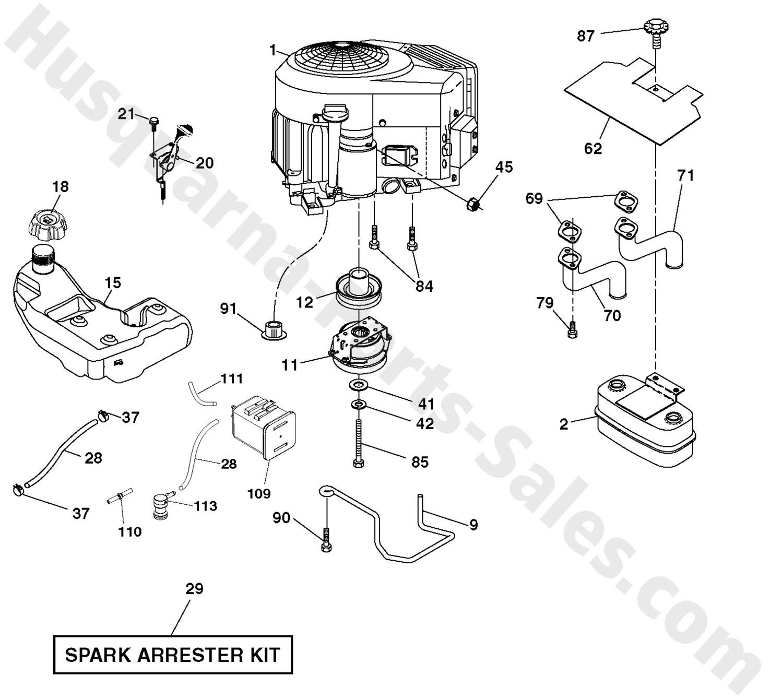 Diagram Of Lawn Mower Engine Yth26v54 Husqvarna Riding