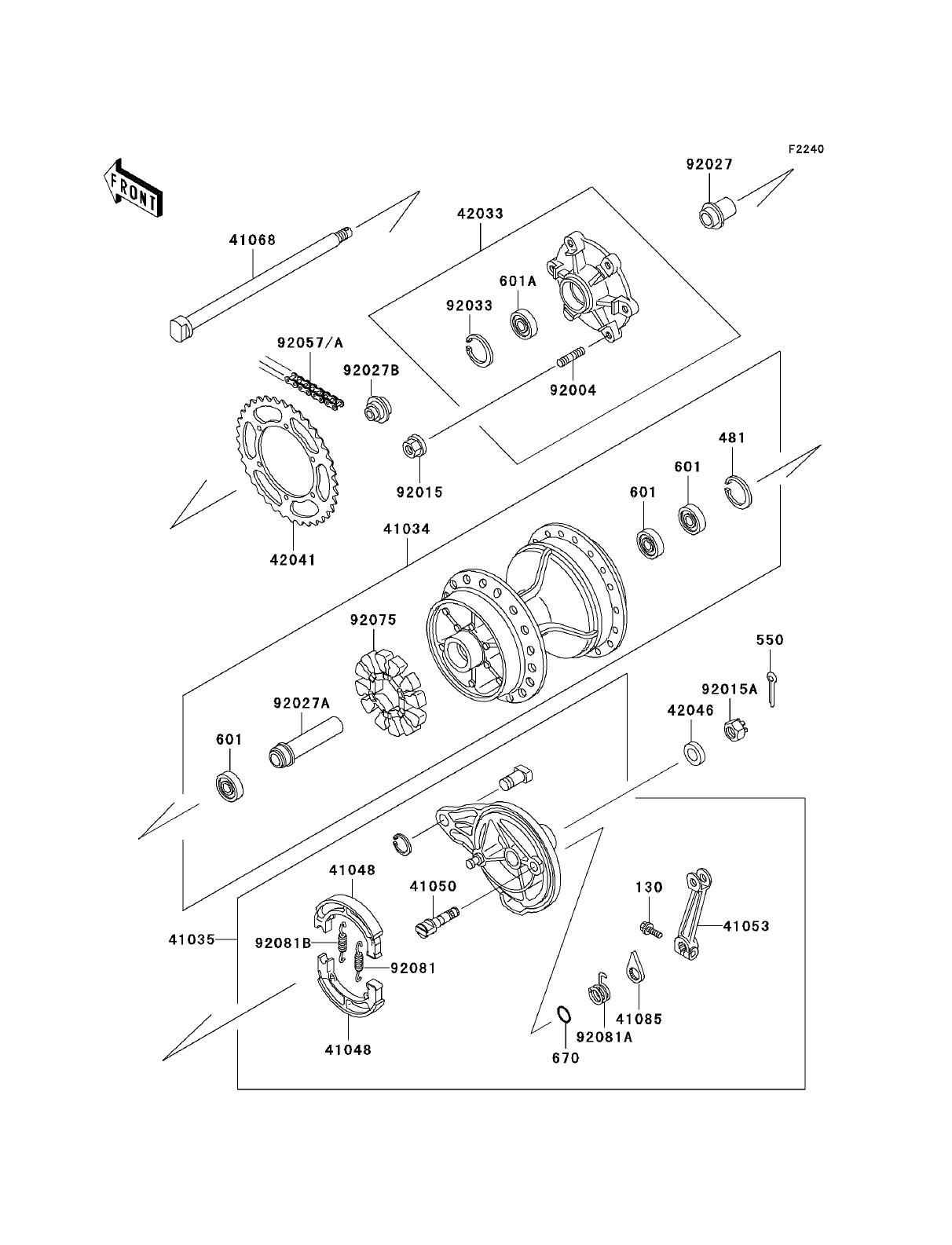 Drum Brake assembly Diagram Kawasaki Klr250 Kawasaki