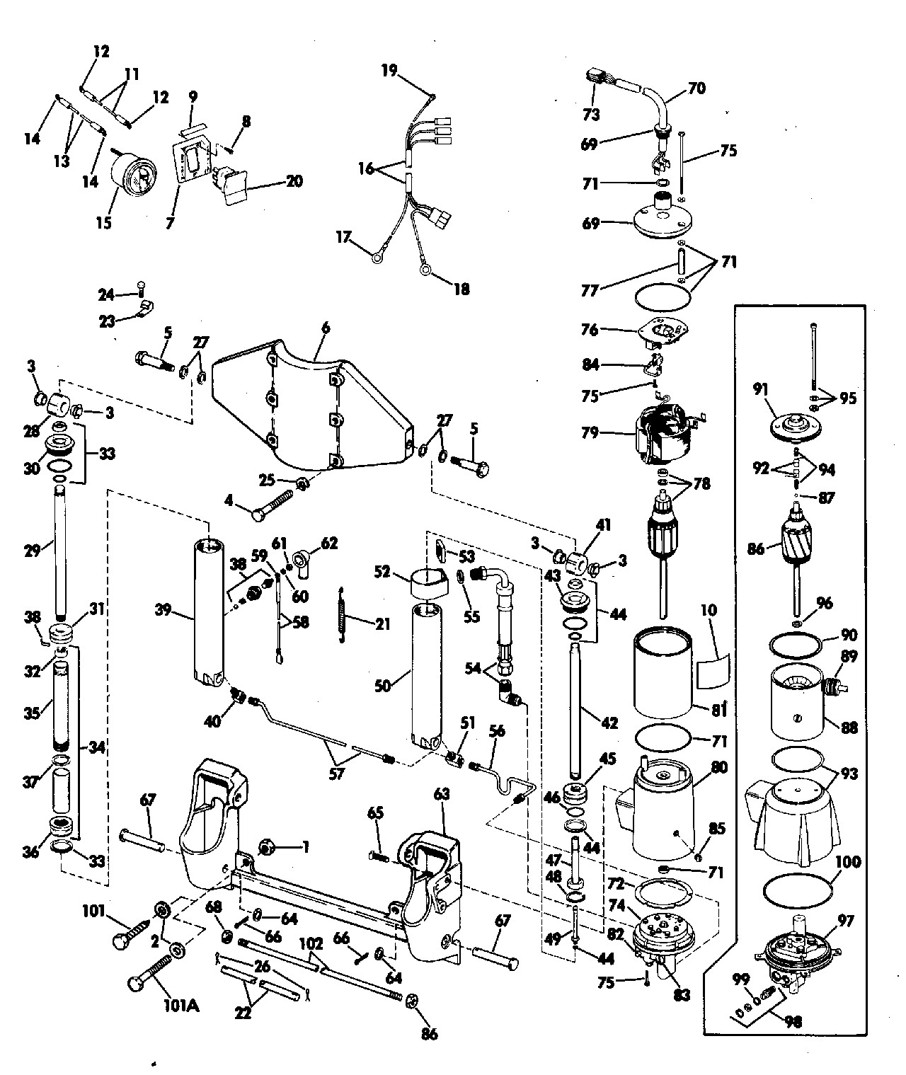 Evinrude outboard parts diagram power tilt and trim 50 hp electrical 1974 accessories for 1974 of