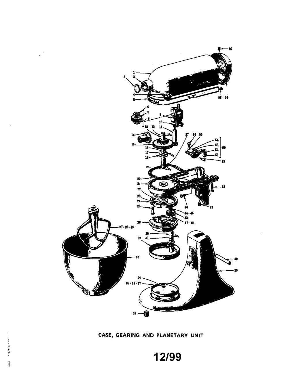 medium resolution of hobart mixer parts diagram kitchenaid model k45 mixer food genuine parts of hobart mixer parts diagram