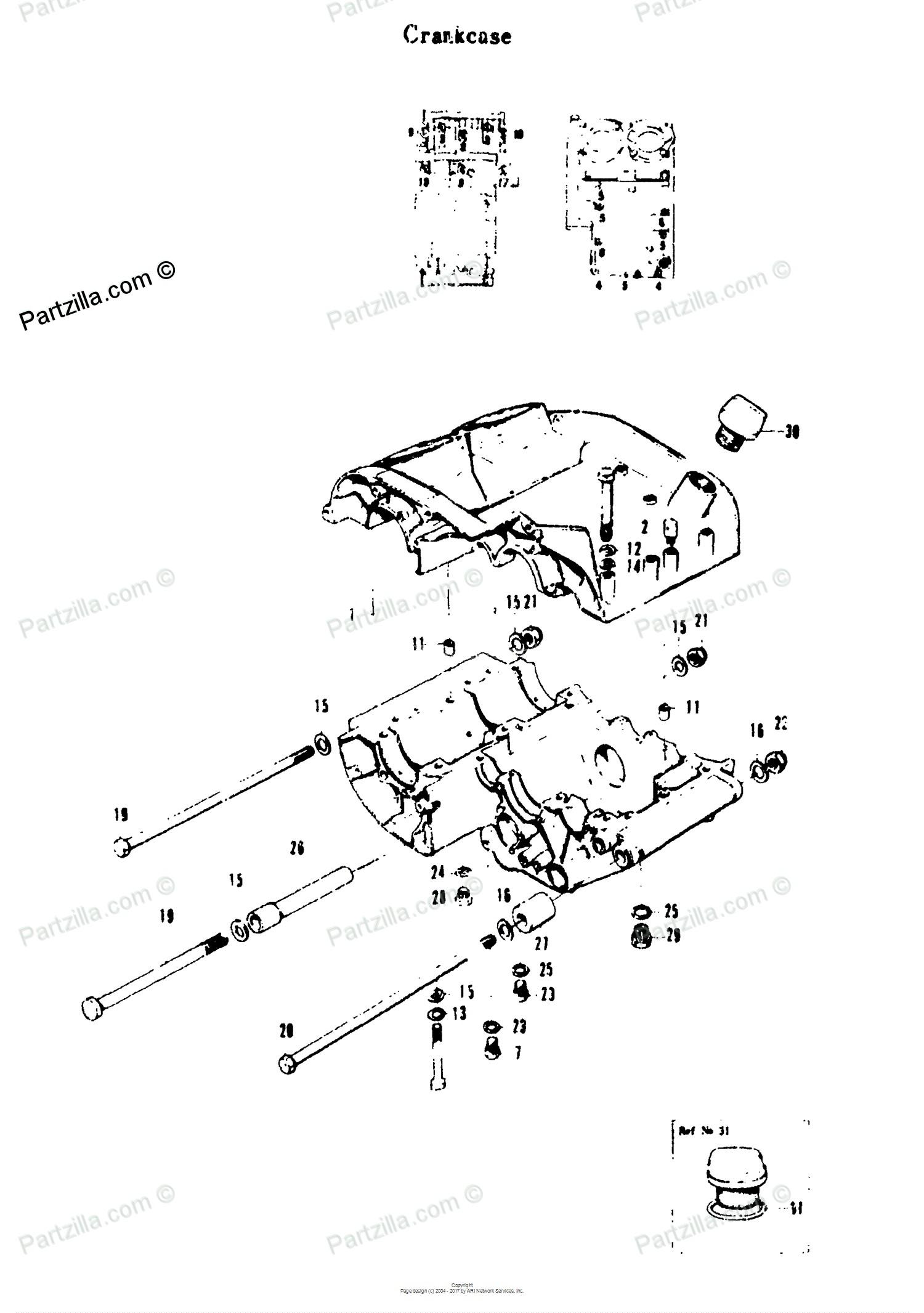 Motorcycle engine parts diagram suzuki motorcycle 1969 oem parts diagram for crankcase partzilla of motorcycle engine