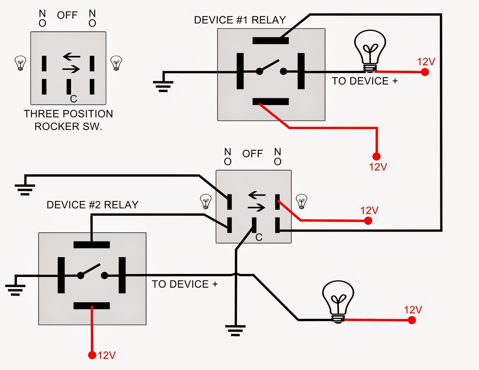 Light Timer Switch Wiring Diagram Auto Electrical 1800 Goldwing Trike Trailer Spdt Toggle Dpdt
