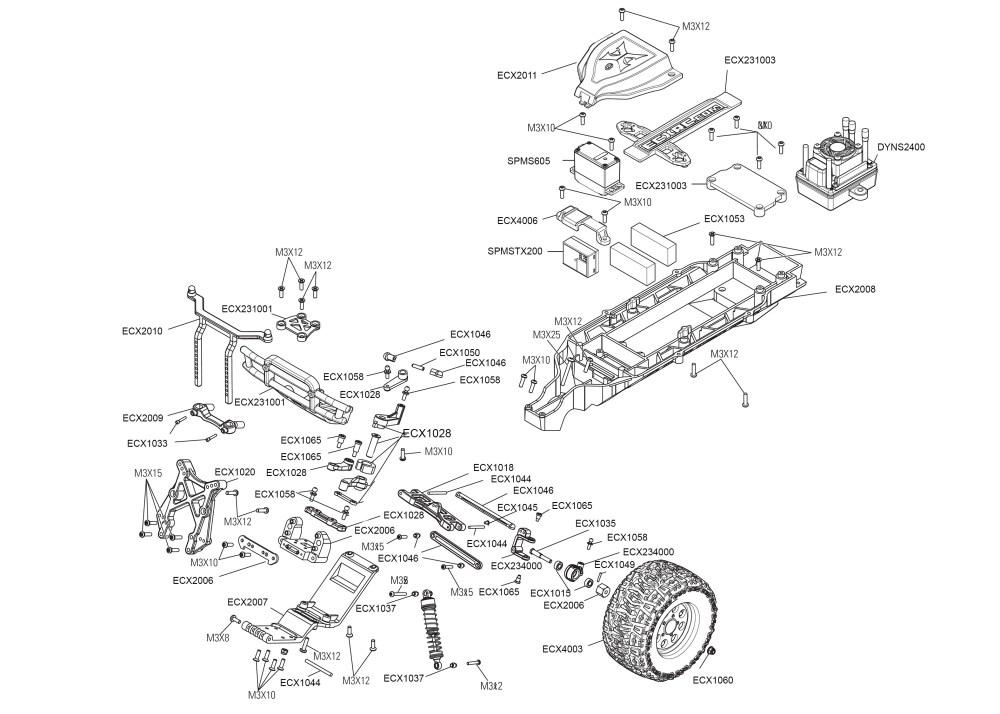 medium resolution of parts of a car diagram exploded view ecx ruckus mt 1 10 2006 honda ruckus wiring diagram