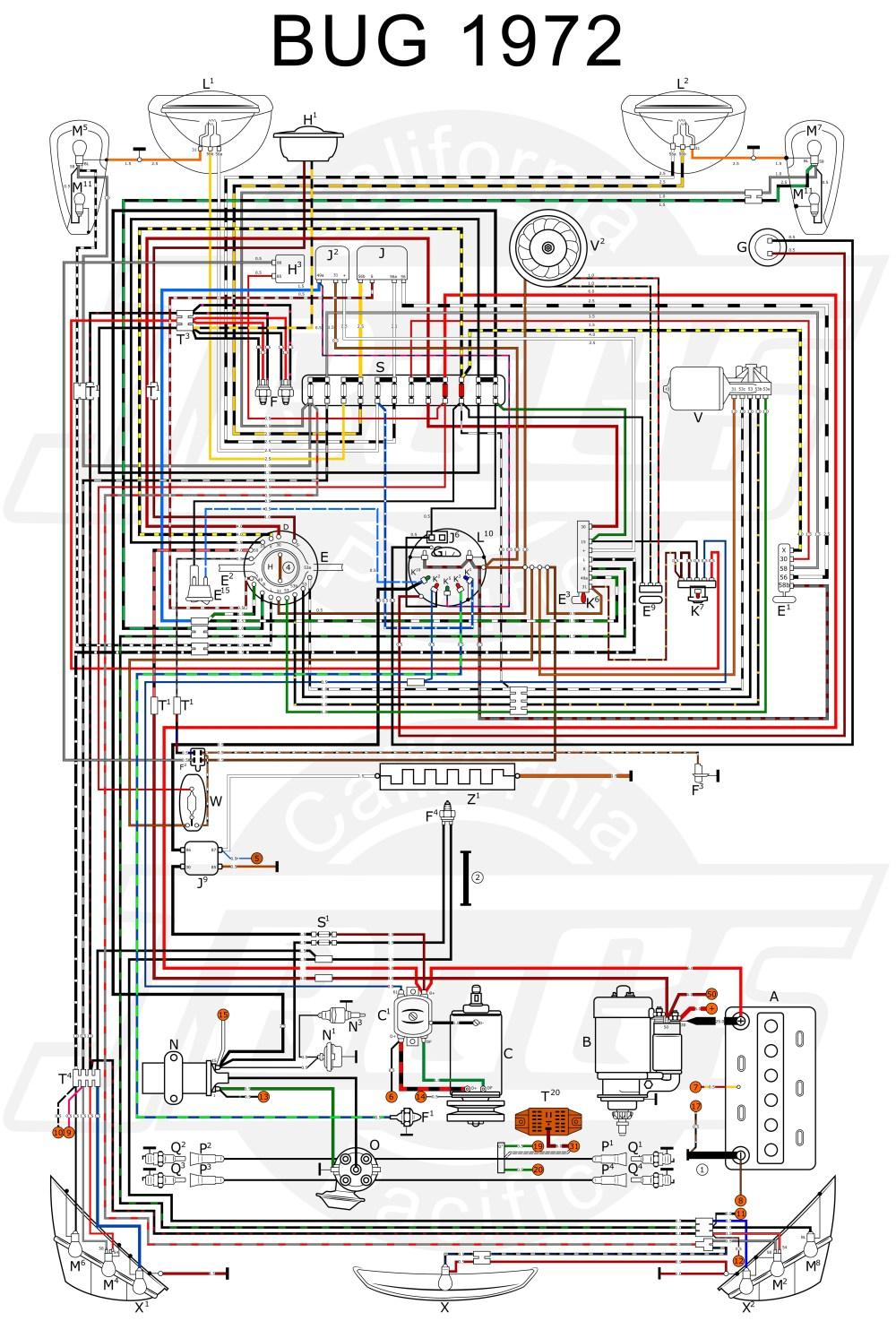 medium resolution of wiring diagram in color 1964 vw bug beetle convertible the samba garage pinterest vw type 1 engine