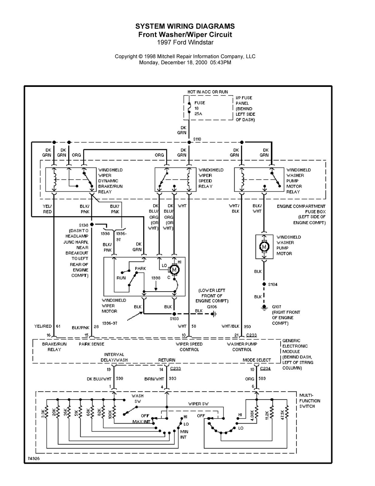 Complete System Wiring Diagrams 1997 Ford Windstar