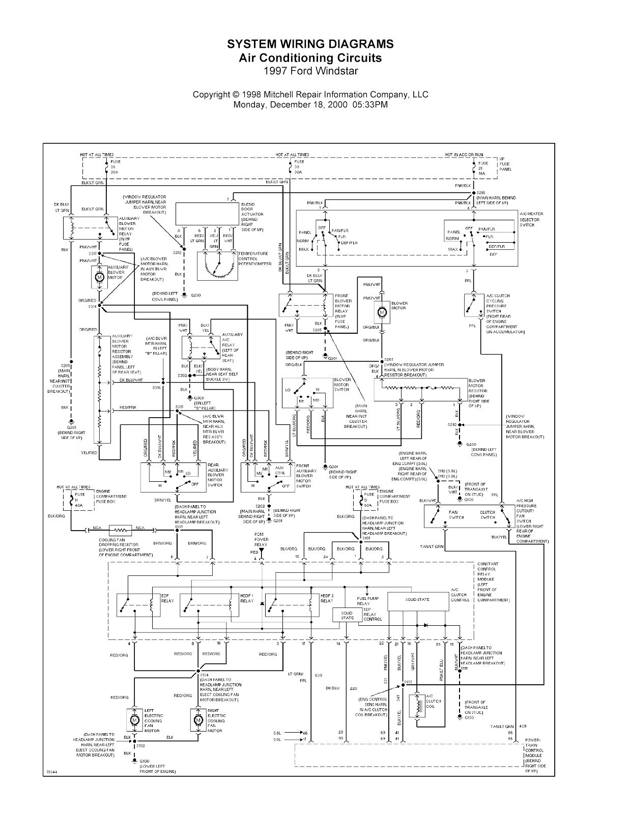 2001 Ford Windstar Power Window Electrical Diagram