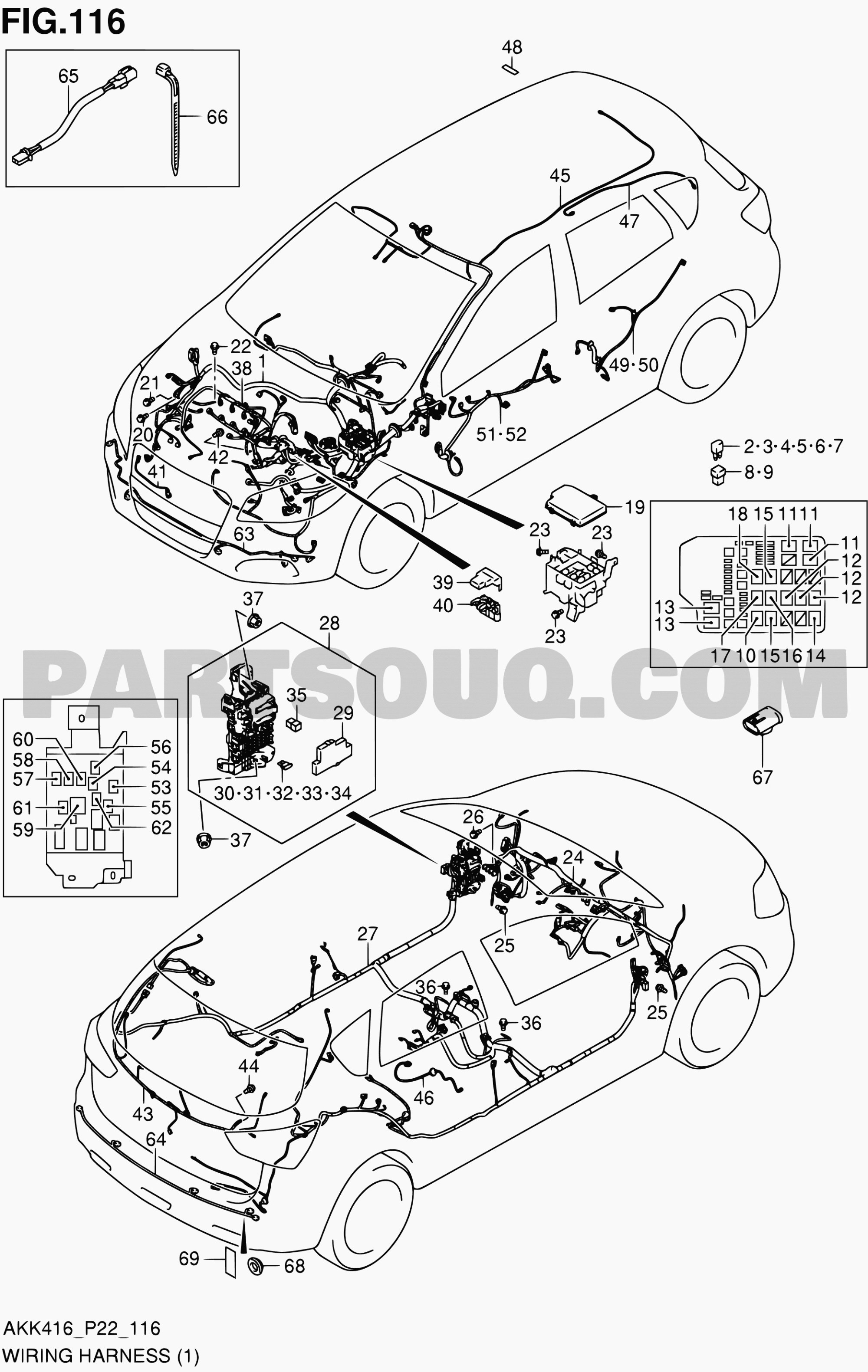 hight resolution of 2006 scion tc engine diagram exterior car parts diagram 116 wiring harness m16a lhd sx4 m16a