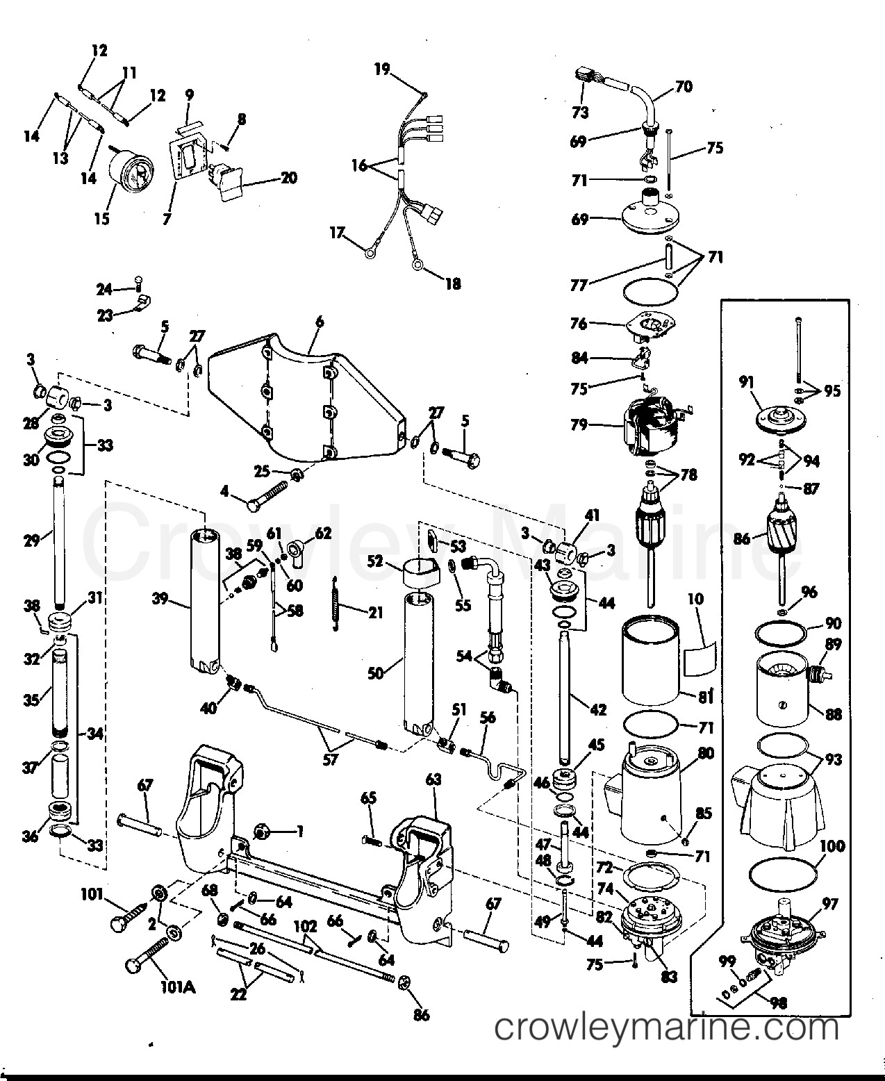 Evinrude 15 Hp Parts Diagram Power Tilt and Trim 55 Hp