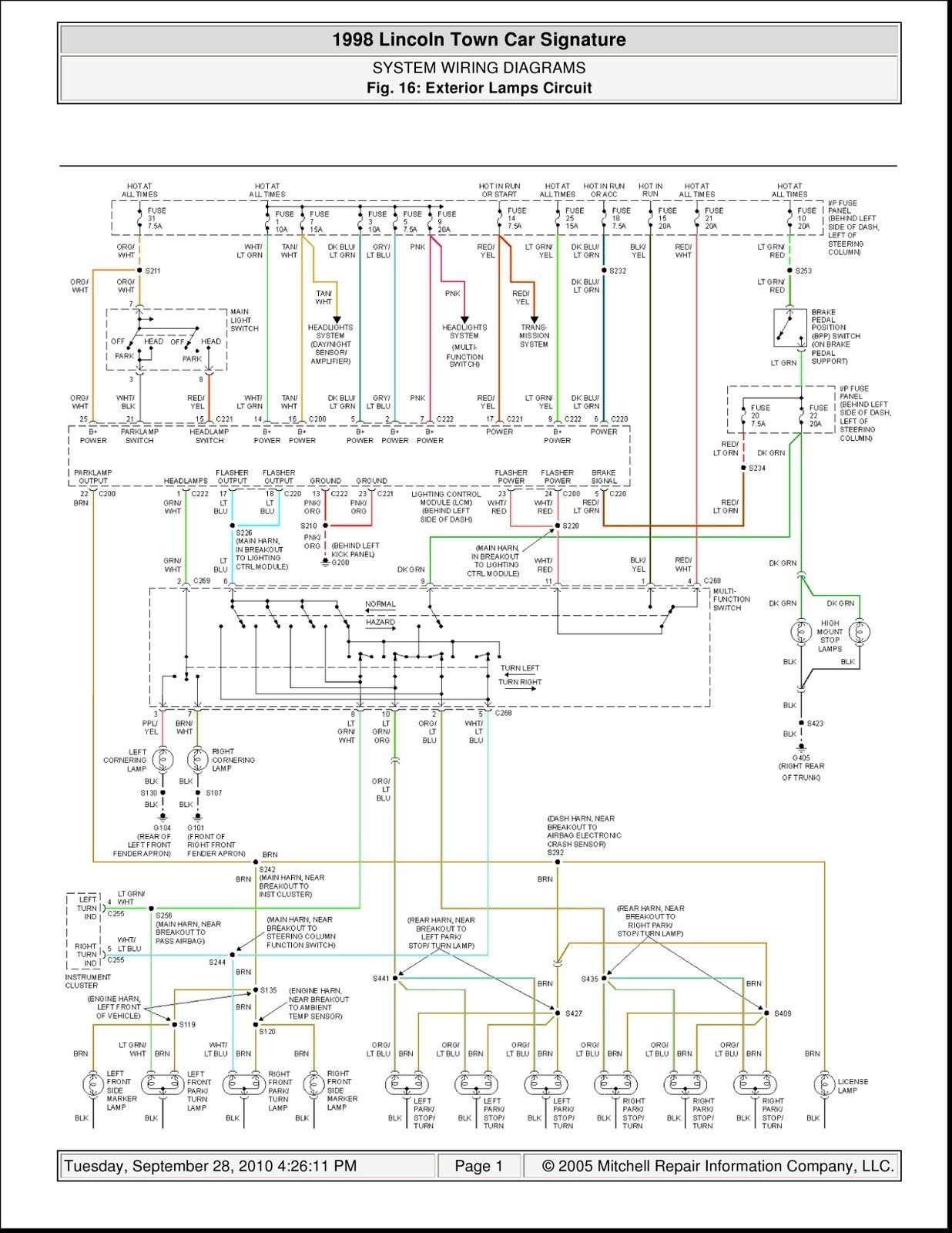 98 lincoln town car radio wiring diagram