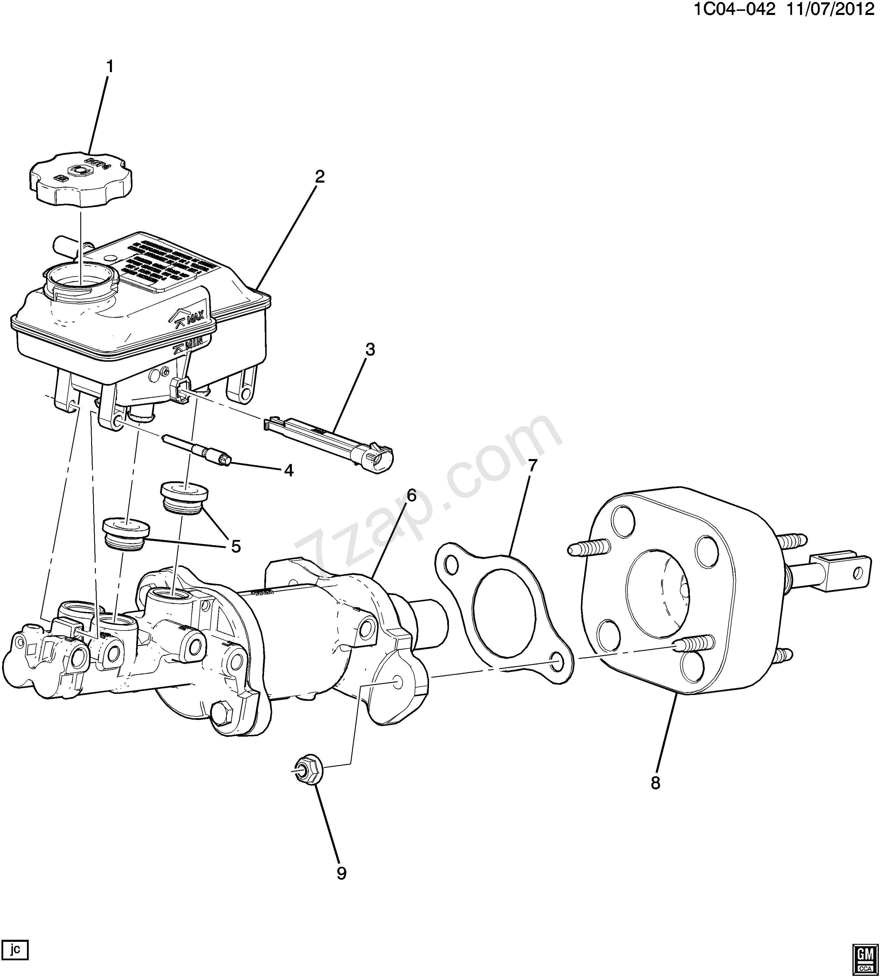 Chevy Master Cylinder Diagram 2014 2016 Cz48 Brake Master
