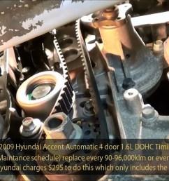 dohc engine diagram 2009 hyundai accent 1 6l gls dohc timing belt service part 3 of [ 1280 x 720 Pixel ]