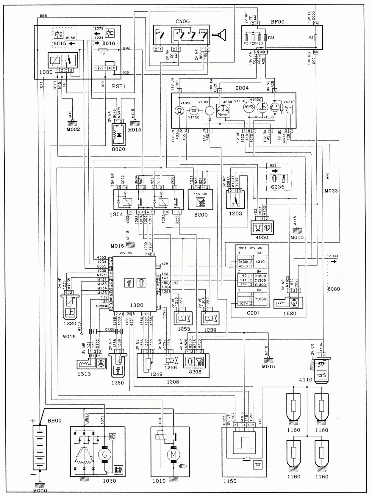 electrical wiring diagram peugeot 307