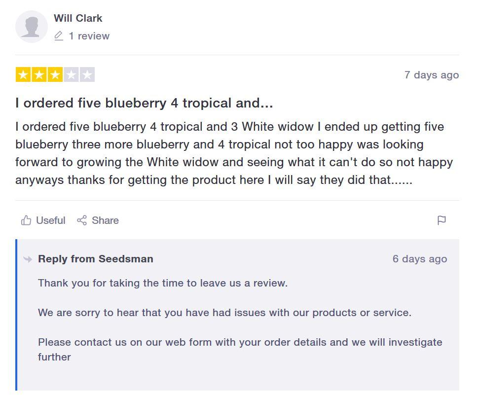 Seedsman Seeds customer feedback 2