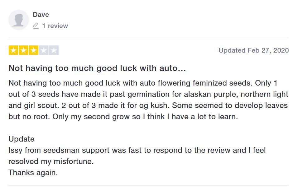 Seedsman Seeds customer feedback 4