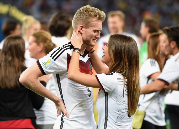 Andre Schuerrle with girlfriend Montana Yorke (Photo by Matthias Hangst/Getty Images)
