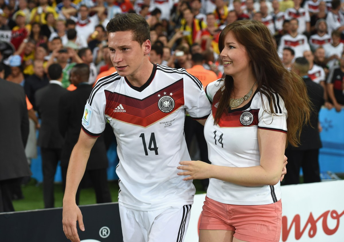 Julian Draxler and his girlfriend Lena (Photo by Matthias Hangst/Getty Images)
