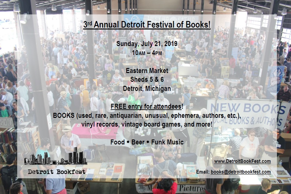 3rd Annual Detroit Festival of Books! (Sunday, July 21st, 2019)
