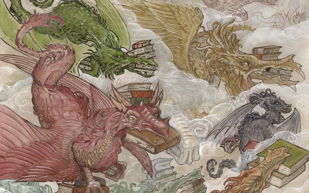 Detroit artist RACHEL QUINLAN does it again with 'Book Wyrms' her exclusive painting to celebrate Bookfest